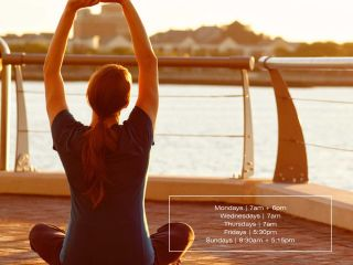 waterfront yoga at Battery Wharf Hotel